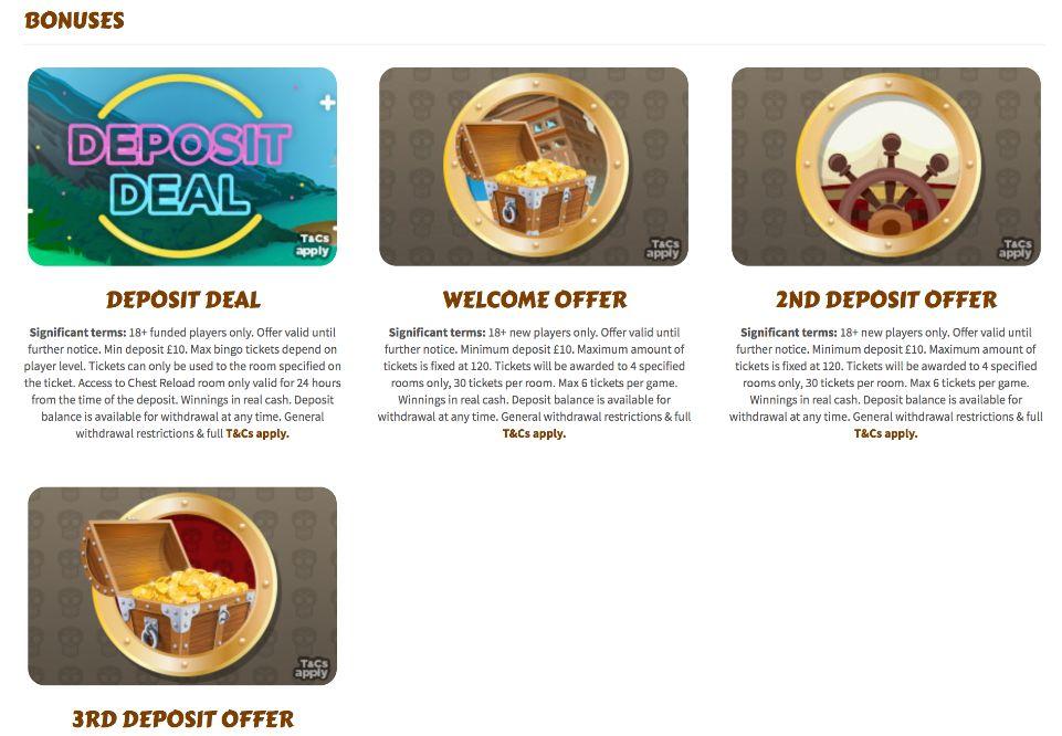 treasure bingo bonuses