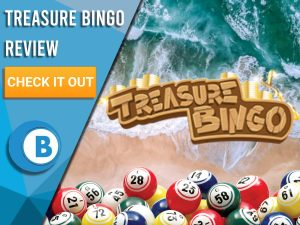 "Beach background with bingo balls and Treasure Bingo logo. Blue/white square to left with text ""Treasure Bingo Review"", CTA below and Boomtown Bingo logo."