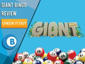 """Blue background with bingo balls and Giant Bingo logo. Blue/white square to left with text """"Giant Bingo Review"""", CTA below and Boomtown Bingo logo."""