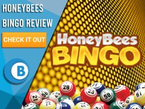 "Background of hive with bingo balls and Honeybees Bingo. Blue/white square to left with text ""Honeybees Bingo Review"", CTA below and Boomtown Bingo logo."