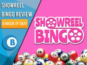 """Pink background with Showreel Bingo logo and bingo balls. Blue/white square to left with text """"Showreel Bingo Review"""", CTA below and Boomtown Bingo logo."""