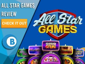 """Blue background with slot machines and All Star Games Logo. Blue/white square to left with text """"All Star Games Review"""", CTA below and Boomtown Bingo logo."""