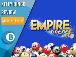 "Blue background with bingo balls and Empire Bingo Logo. Blue/white square to left with text ""Empire Bingo Review"", CTA below and Boomtown Bingo logo."