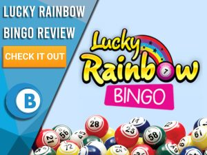 "Violet background with bingo balls and Lucky Rainbow Bingo logo. Blue/white square with text to left ""Lucky Rainbow Bingo Review"", CTA below and Boomtown Bingo logo."