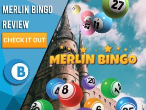"""Background of castle with bingo balls and Merlin Bingo logo. Blue/white square to left with text """"Merlin Bingo Review"""", CTA below and Boomtown Bingo logo underneath that."""