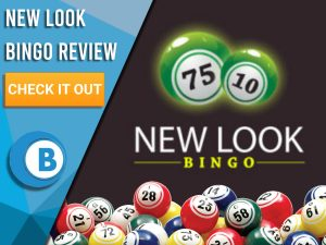 """Dark Red background with bingo balls and New Look Bingo logo. Blue/white square to left with text """"New Look Bingo Review"""", CTA below and Boomtown Bingo logo."""
