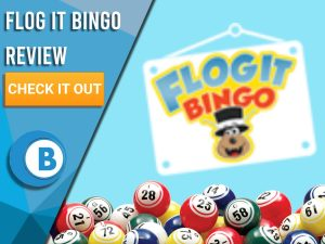 "Light blue background with bingo balls and Flog It Bingo logo. Blue/white square to left with text ""Flog It Bingo Review"", CTA below and Boomtown Bingo logo beneath."