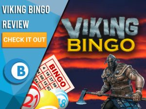 """Background of red sky with viking and bingo balls/cards with Viking Bingo logo. Blue/white square with text to left """"Viking Bingo Review"""", CTA below and Boomtown Bingo logo beneath."""