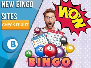 """Background of purple with bingo symbols, wow sign and surprised man. Blue/white square to left with text """"New Bingo Sites"""", CTA button, BoomtownBingo both below."""