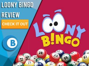 "Pink/red background with bingo balls and Loony Bingo logo. Blue/white square to left with text ""Loony Bingo Review"", CTA below and Boomtown Bingo logo."