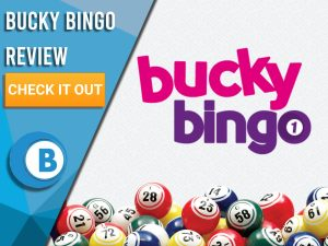 """White background with bingo balls and Bucky Bingo. Blue/white square to left with text """"Bucky Bingo Review"""", CTA below and Boomtown Bingo logo underneath."""