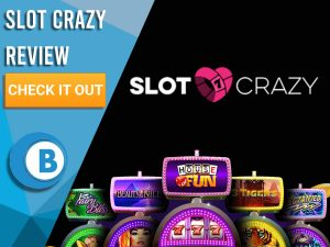 """Black Background with slot machines and Slot crazy logo. Blue/white square to left with text """"Slot Crazy Review"""", CTA and Boomtown Bingo logo."""