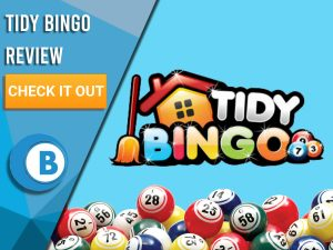 "Blue background with Bingo Balls and Tidy Bingo logo. Blue/white square to left with text ""Tidy Bingo Review"", CTA below and Boomtown Bingo logo."