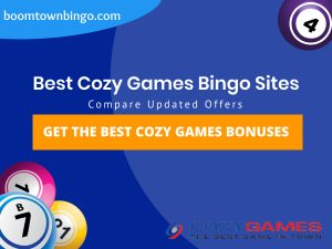"A Blue background with a white circle with 50% opacity covering half of the background. A blue oval can be seen in the top left with ""boomtownbingo.com"" inside of it. Two lines of text in white writing are displayed in the middle, with an orange box with one line of white text within it. 3 Bingo balls can be seen in the bottom left. In the opposite corner, a Bingo ball can be seen (top right). Also, in the bottom right, the Cozy Games logo can be seen."