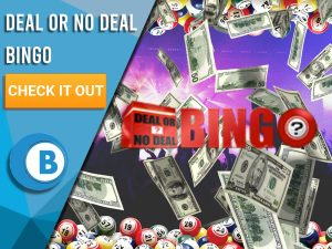 """Background of stage with money raining, bingo balls and deal or no deal bingo logo. Blue/white square text """"Deal Or No Deal Bingo"""", CTA beneath and BoomtownBingo logo."""