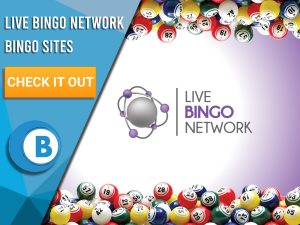 "Background of White purple gradient. Blue white square covering half background. Bingo ball border. Logo for Live Bingo Network with text ""Live Bingo Network Bingo Sites"" to left. CTA under that with BoomtownBingo Logo under that."