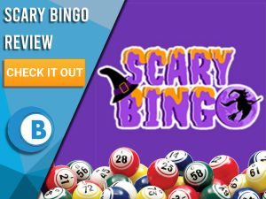 "Purple background with bingo balls and Scary Bingo logo. Blue/white square to left with text ""Scary Bingo Review"", CTA below and Boomtown Bingo logo."