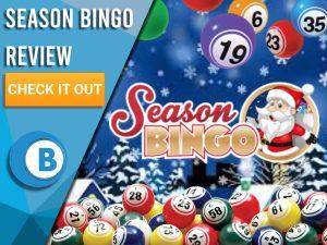 "Snowy background with bingo balls and Season Bingo logo. Blue/white square with text to left ""Season Bingo Review"", CTA below and Boomtown Bingo logo beneath."