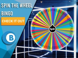 """Background of neon lights with Spin the Wheel logo in the centre. Left is Blue/white square with text """"Spin The Wheel Bingo"""", CTA below and BoomtownBingo logo beneath that."""