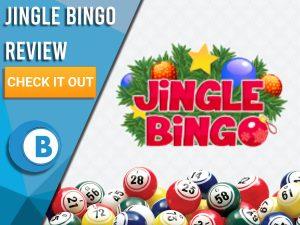 "White background with bingo balls and Jingle Bingo logo. Blue/white square to left with text ""Jingle Bingo Review"", CTA below and Boomtown Bingo logo."