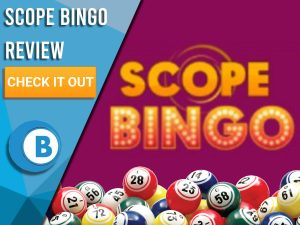 "Magenta background with Bingo Balls and Scope Bingo logo. Blue/white square to left with text ""Scope Bingo Review"", CTA below and Boomtown Bingo logo."