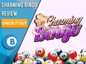 "Pink background with bingo balls and Charming Bingo logo. Blue/white square to left with text ""Charming Bingo Review"", CTA below and Boomtown Bingo logo."