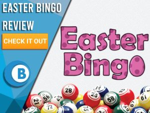 """White Background with bingo balls and Easter Bingo logo. Blue/white square to left with text """"Easter Bingo Review"""", CTA below and Boomtown Bingo logo."""