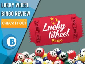 "Grey background with bingo balls and Lucky Wheel bingo logo. Blue/white square to left with text ""Lucky Wheel Bingo Review"", CTA below and Boomtown Bingo logo."