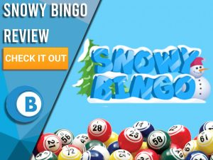 """Blue background with bingo balls and Snowy Bingo logo. Blue/white square with text to left """"Snowy Bingo Review"""", CTA below and Boomtown Bingo!"""