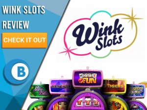 "White Background with slot machines and Wink Slots logo. Blue/white square to left with text ""Wink Slots Review"", CTA and Boomtown Bingo logo."