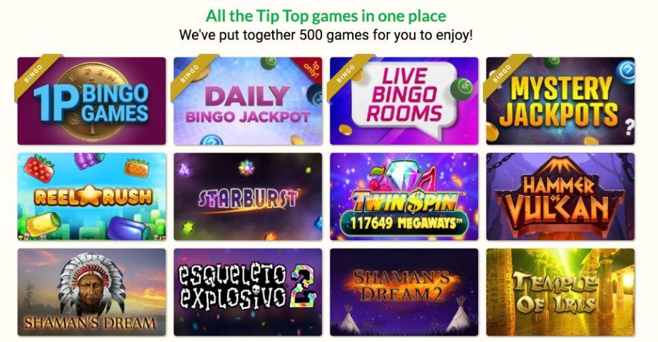 tip top bingo slots