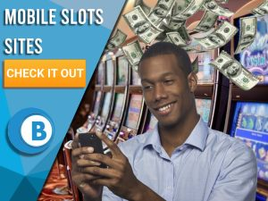"Background of slots with man on mobile slots sites and money raining down. Blue/white square to left with text ""Mobile Slots Sites"", CTA below and BoomtownBingo logo under."
