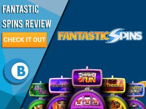 "Blue background with slot machines and Fantastic Spins logo. Blue/white square to left with text ""Fantastic Spins Review"", CTA below and Boomtown Bingo logo."
