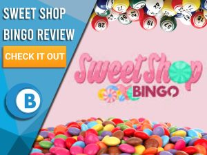 """Pink background with candy, bingo balls and Sweet Shop Bingo logo. Blue/white square with text to left """"Sweet Shop Bingo Review"""", CTA below and BoomtownBingo logo underneath."""