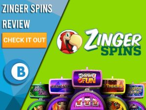 """Green Background with slot machines and Zinger Spins logo. Blue/white square to left with text """"Zinger Spins Review"""", CTA and Boomtown Bingo logo."""