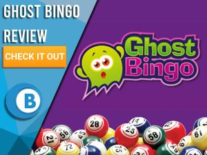 """Purple background with bingo balls and Ghost Bingo logo. Blue/white square to left with text """"Ghost Bingo Review"""", CTA below and Boomtown Bingo logo."""