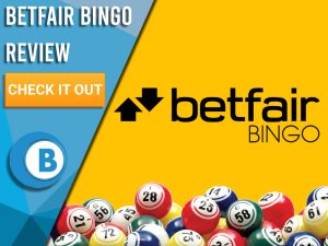 "Yellow background with bingo balls and Betfair logo. Blue/white square to left with text ""Betfair Bingo Review"", CTA below and Boomtown Bingo logo."