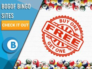 """Background of white tiles with BOGOF symbol in middle, bingo balls surround the image. Blue/white square with text """"BOGOF Bingo Sites"""", with CTA beneath and BoomtownBingo logo under that appear on square."""