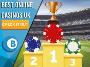 """Background of stadium with podium and three casino chips and a trophy. Blue/white square to left with text """"Best Online Casinos UK"""", CTA below it and BoomtownBingo logo under that."""