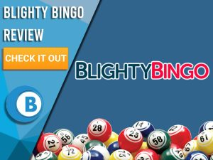 """Blue background with bingo balls and Blighty Bingo logo. Blue/white square to left with text """"Blighty Bingo Review"""", CTA below and Boomtown Bingo logo."""