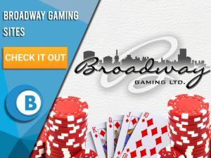 "Background of white with two poker chips. hand of cards and Broadway Gaming logo. Blue/white square to left with text ""Broadway Gaming SitesBroadway Gaming Sites"", CTA below that and BoomtownBingo logo under that."