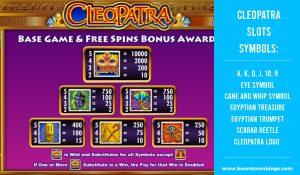 Cleopatra Slots machine Symbols