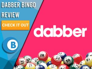 """Pink background with bingo balls and Dabber Logo. Blue/white square to left with text """"Dabber Bingo Review"""", CTA below and Boomtown Bingo logo."""