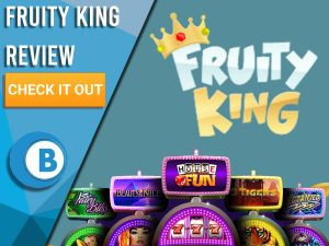 "Green background with slot machines and Fuity King logo. Blue/white square to left with text ""Fruity King Review"", CTA below and Boomtown Bingo logo."