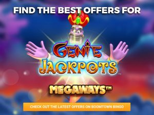 Background of Arabian Desert, with a Genie seen in the centre. In front, the logo for Genie Jackpots Megaways can be seen with an orange CTA beneath it.
