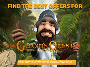 """A man with a beard is seen in the centre, with both of his thumbs up, smiling at the camera. Coins are coming from the bottom left towards him. In the centre, the logo for """"Gonzo's Quest, road to Elderado"""". A jungle is seen in the background too, with orange text and the top middle and a CTA at the bottom middle."""