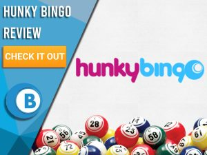 """White background with bingo balls and Hunky Bingo logo. Blue/white square to left with text """"Hunky Bingo Review"""", CTA below and Boomtown Bingo logo."""