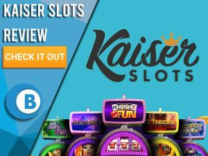 "Blue background with slot machines and Kaiser Slots logo. Blue/white square to left with text ""Kaiser Slots Review"", CTA below and Boomtown Bingo logo."