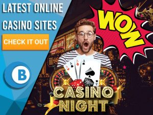 "Background of casino with casino night logo, man and wow sign. Blue/white square with text to left ""Latest Online Casino Sites"", CTA and BoomtownBingo logo."