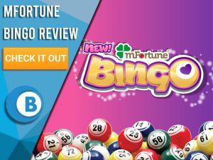 "Purple/pink background with bingo balls and MFortune Bingo logo. Blue/white square to left with text ""MFortune Bingo Review"", CTA below and Boomtown Bingo Logo."